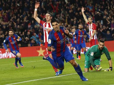Luis Suarez celebrates after scoring. Reuters