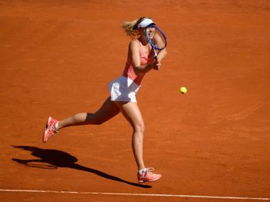 File photo of Maria Sharapova during the Madrid Open in 2015. AFP