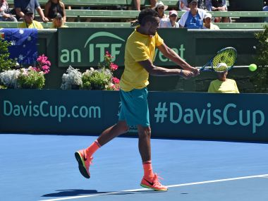 Nick Kyrgios is action at the Davis Cup. AFP