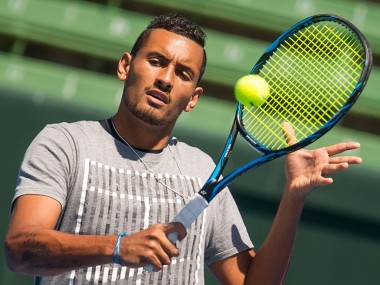 Nick Kyrgios trains ahead of the Davis Cup. Image courtesy: Twitter/Tennis Australia