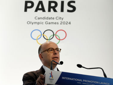 French Prime Minister Bernard Cazeneuve delivers his speech during the launch of the international campaign of Paris as candidate for the 2024 Olympic summer games. AP