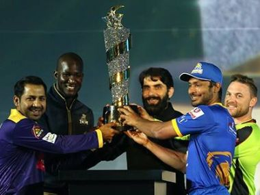 The captains of the five PSL franchises with the trophy. Image courtesy: Facebook/thePSL
