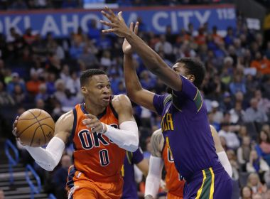Oklahoma City Thunder guard Russell Westbrook passes the ball against New Orleans Pelicans. AP