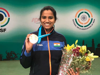 Pooja Ghatkar claims bronze at the 10m rifle event. Image Credit: Twitter: @virenrasquinha