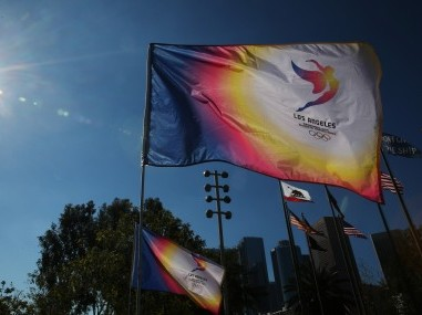 A flag flutters in Los Angeles prior to a news conference to annouce the city's final approval to bid for the 2024 Olympic Games. Reuters