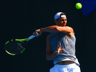 Rafael Nadal of Spain hits a shot during a training session. Reuters