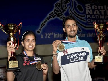 Rituparna Das and Sourabh Verma, winners of women's and men's singles at the 81st Badminton National Championship. PTI