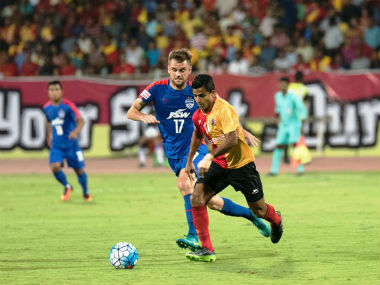 Robin Singh scored a brace to sink his former club Bengaluru FC. Twitter: @ILeagueOfficial