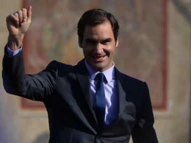 Roger Federer greets his fans during an event to promote the Laver Cup in Prague. AFP