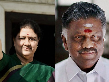 File photo of (L) VK Sasikala and OP Panneerselvam, who are vying for CM's position by influencing Governor Rao. PTI
