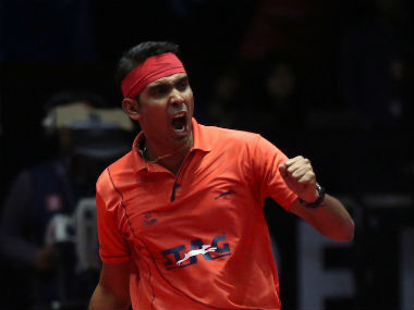 Sharath Kamal celebrates a point during his quarter-final clash against Paul Drinkhall. Sportzpics
