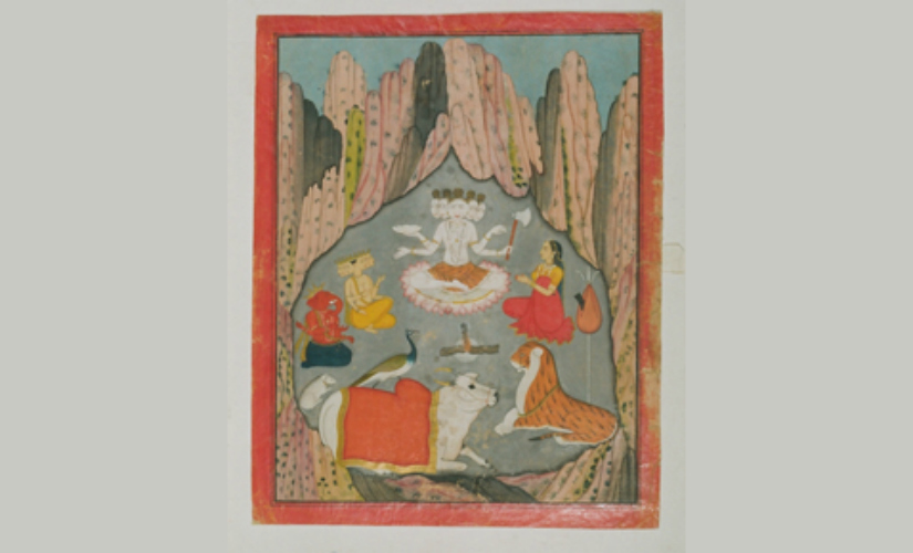 Shiva (as Sadashiva in Padmasana) with his family in Pahari Style. Image Courtesy: National Museum