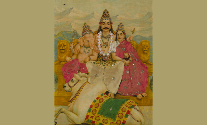Shiva and his family (Kartikheya is missing) – Raja Ravi Verma print. Image Courtesy: Philadelphia Museum of Art