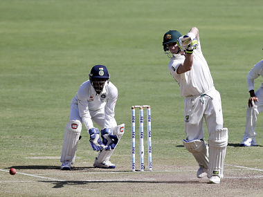Steven Smith in action against India on day three of the Pune Test. AP