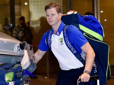 Australian captain Steve Smith arrived with his team in Mumbai on Monday. PTI