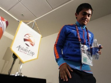 Sunil Chhetri leaves after a pre-match news conference for the Asian Cup. Reuters