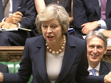 British Prime Minister Theresa May speaks at the House of Commons in London. AP.