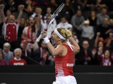Switzerland's Timea Bacsinszky reacts after defeating Alize Cornet of France. AFP
