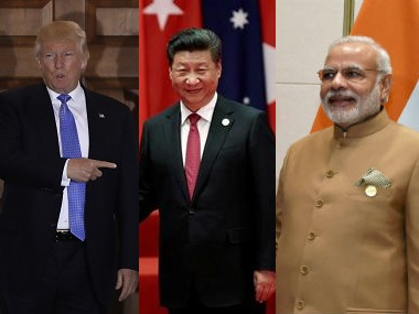 File images of Donald Trump, Xji Jinping and Narendra Modi. AP, Reuters and PTI