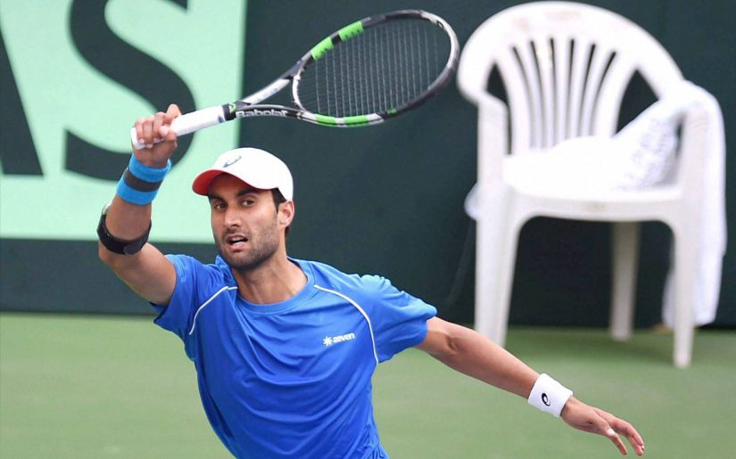 Yuki Bhambri plays against New Zealand player Finn Tearney during the Davis Cup in Pune. PTI