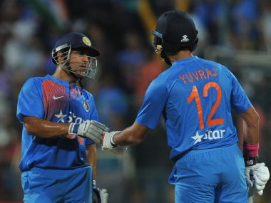 Yuvraj Singh and MS Dhoni's half century stand propelled India past 200. AFP