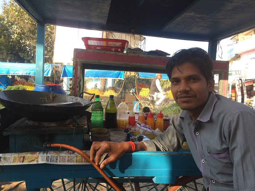 Ashish Kumar Agrahi has been running a chow mein stall for the past eight years due to lack of employment opportunities. Photo courtesy Parth MN