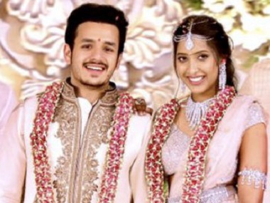 Akhil Akkineni with Shriya Bhupal at their engagement. Image courtesy Twitter