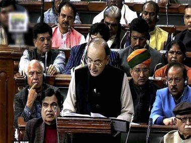 Finance Minister Arun Jaitley tabling the Union Budget for 2017-18 in the Parliament in New Delhi on Wednesday. PTI