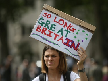 A file photo of a protester opposing Britain's exit from the European Union. AP