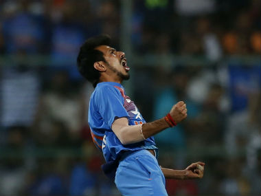 Chahal celebrates the dismissal of Root during the 3rd T20I of the series between India and England. AP
