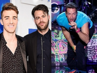 The Chainsmokers duo and Chris Martin. Image courtesy: Creative Commons