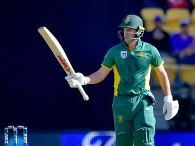 AB de Villiers celebrates his fifty during the third ODI between New Zealand and South Africa in Wellington. AFP