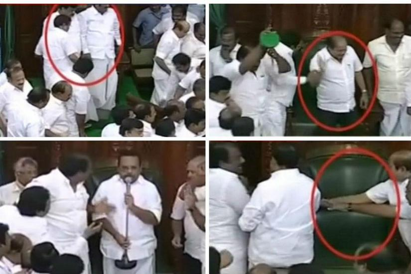 DMK MLAsgheraoed the speaker and broke the Speaker's podium and microphoen after their demand to hold the trust vote through secret ballot was denied. News18 Tamil