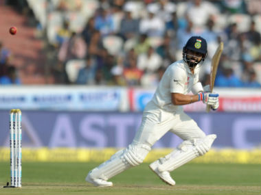 Virat Kohli bats during the one-off Test against Bangladesh in Hyderabad. AFP