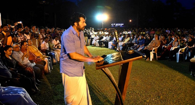Film star Mammootty addressing a press conference in Kochi where the film fraternity condemned the assault on a popular Malayalam actress