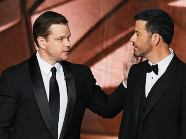 Matt Damon and Jimmy Kimmel at the Emmy awards 2016. (Image courtesy: Getty Images)