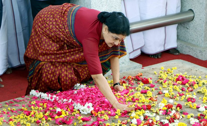 Former AIADMK general secretary Sasikala at the memorial of Jayalalithaa on Wednesday. PTI