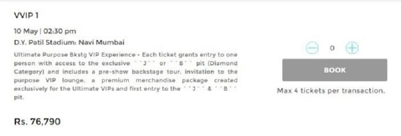 The pre-registration ticket prices for the Bieber concert. Image Courtesy: BuzzFeed