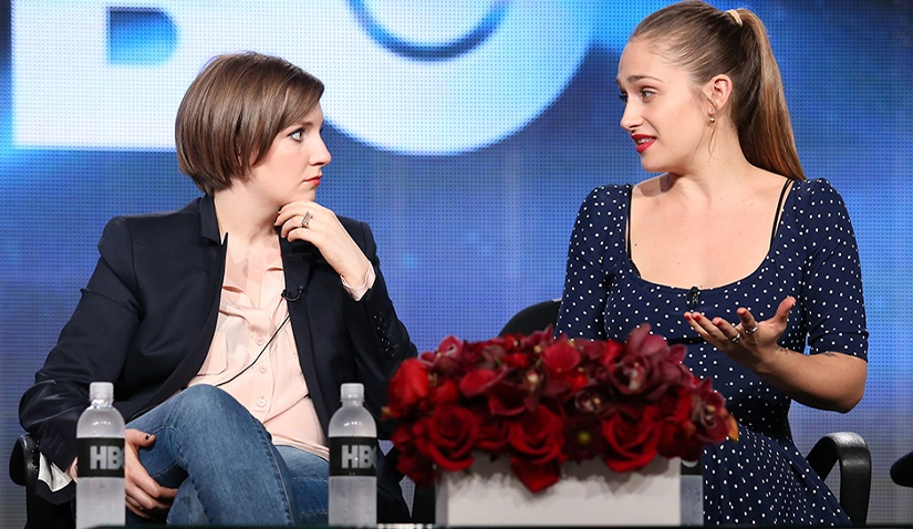 PASADENA, CA - JANUARY 09: Creator/Executive Producer/Actress Lena Dunham and actress Jemima Kirke speak onstage during the 'Girls' panel discussion at the HBO portion of the 2014 Winter Television Critics Association tour at the Langham Hotel on January 9, 2014 in Pasadena, California. (Photo by Frederick M. Brown/Getty Images)