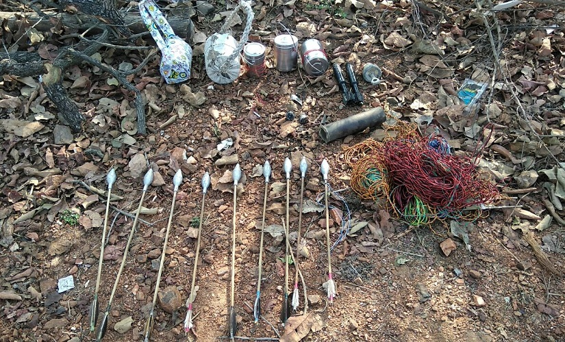 Improved country-made mortar and arrows recovered from ambush site at Kottacheru in Bhejji area of Sukma. Image procured by Firstpost