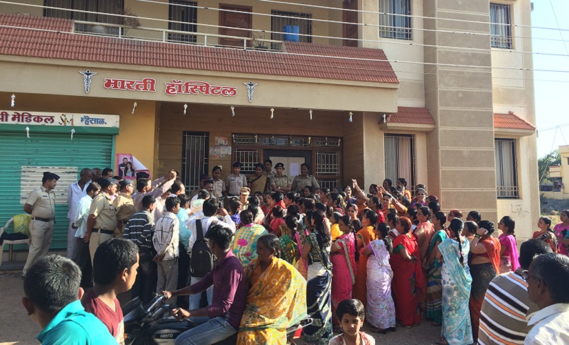 Villagers protesting against the illegally run hospital. Firstpost/Varsha Torgalkar