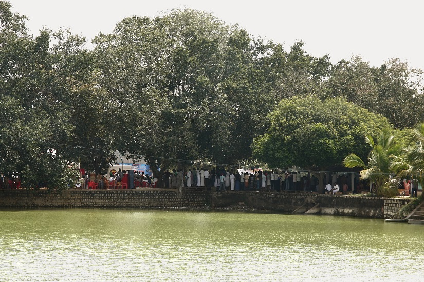 The temple tank adjacent to the protest site at Neduvasal, brimming with water.