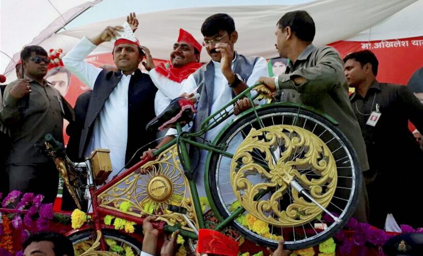UP Chief Minister Akhilesh Yadav in Varanasi. PTI