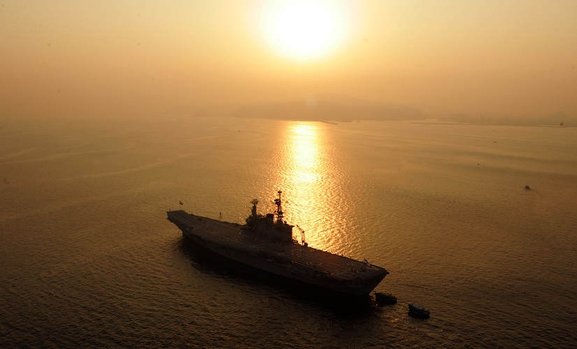 The Indian Navy's aircraft carrier INS Viraat is anchored at sea in Visakhapatnam. Reuters