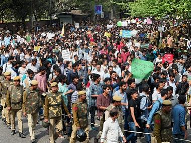 A protest march at Delhi University's North Campus. PTI