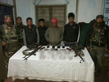 The militants nabbed by the Assam Rifles. Amukhomba Ngangban