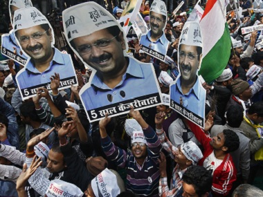 AAP supporters cheer the party's election win in Delhi in 2015. Reuters