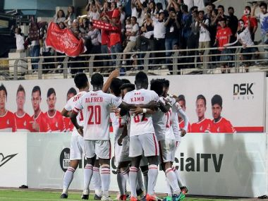 Aizawl FC celebrate their late winner against DSK Shivajians. Twitter/@ILeagueOfficial