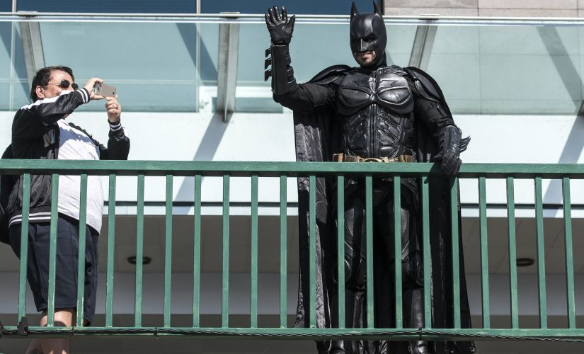 A man dressed as Batman during the ceremony at Madeira Airport. Getty Images