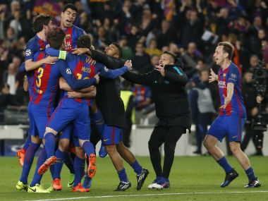 Barcelona players celebrate after defeating Paris Saint-Germain in the Champions League. AFP